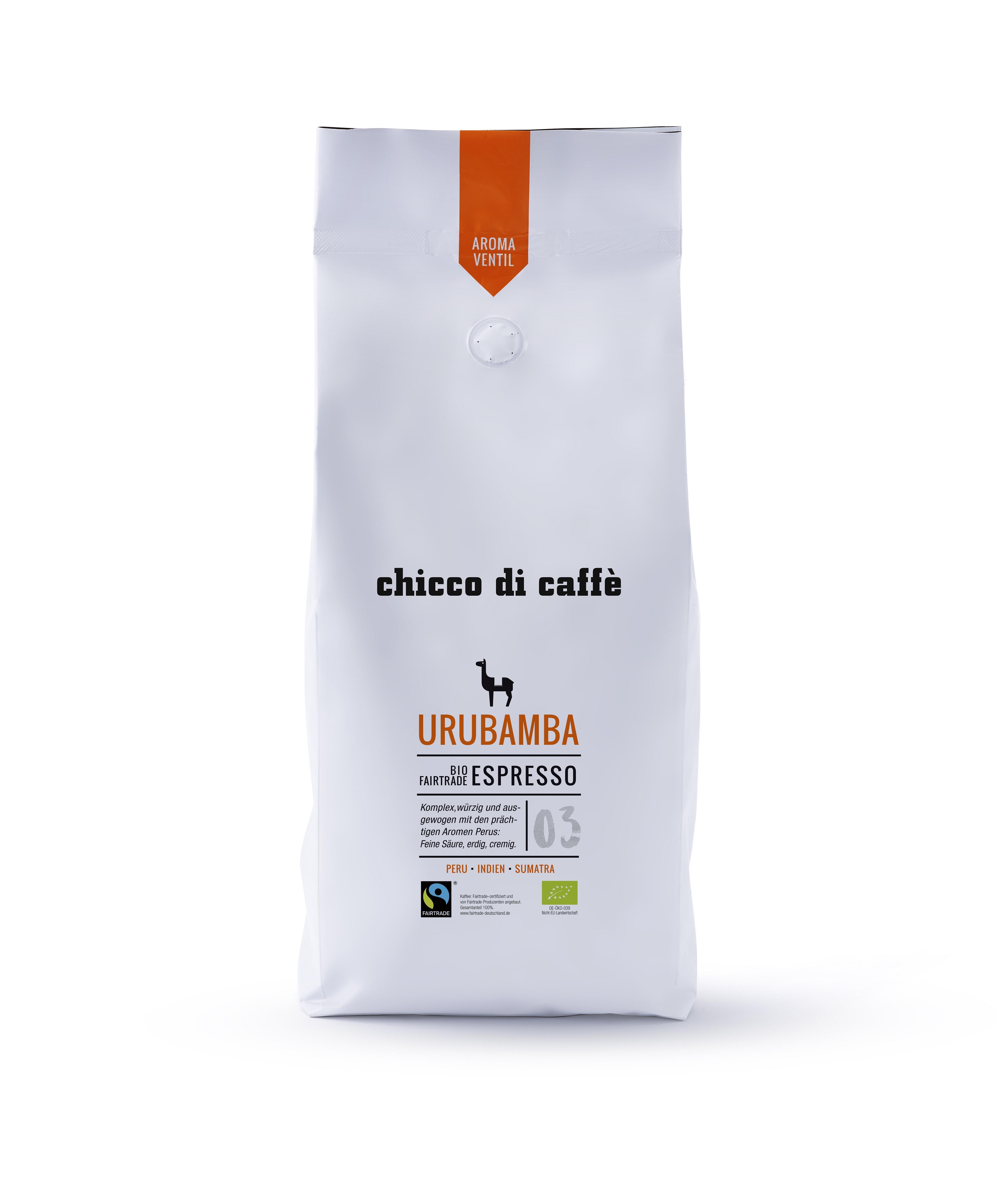 chicco di caffé Urubamba Bio & Fairtrade 1 kg