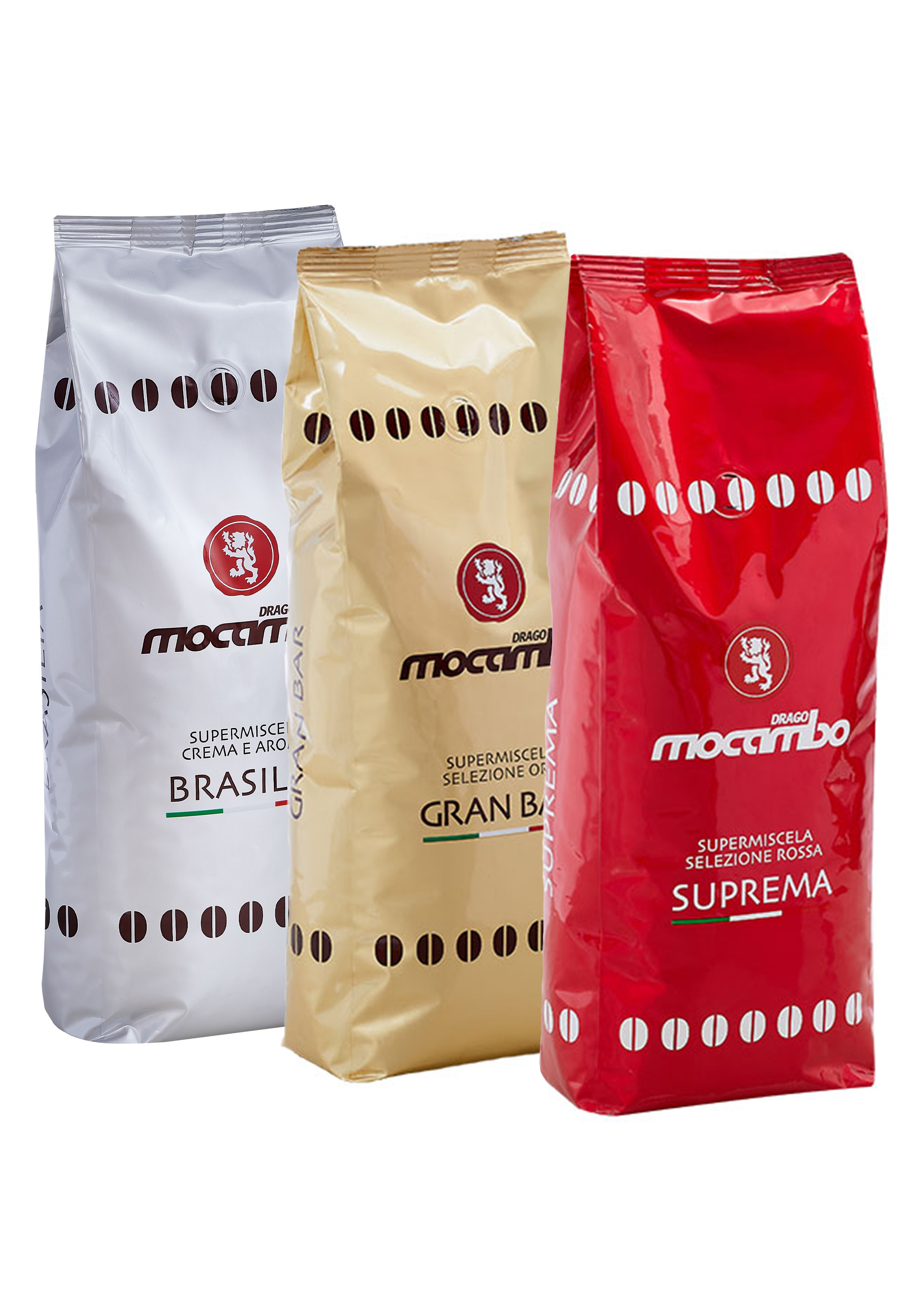 Mocambo Bohnen Probier-Set (3 x 1 kg) + Kaffeebecher Gratis